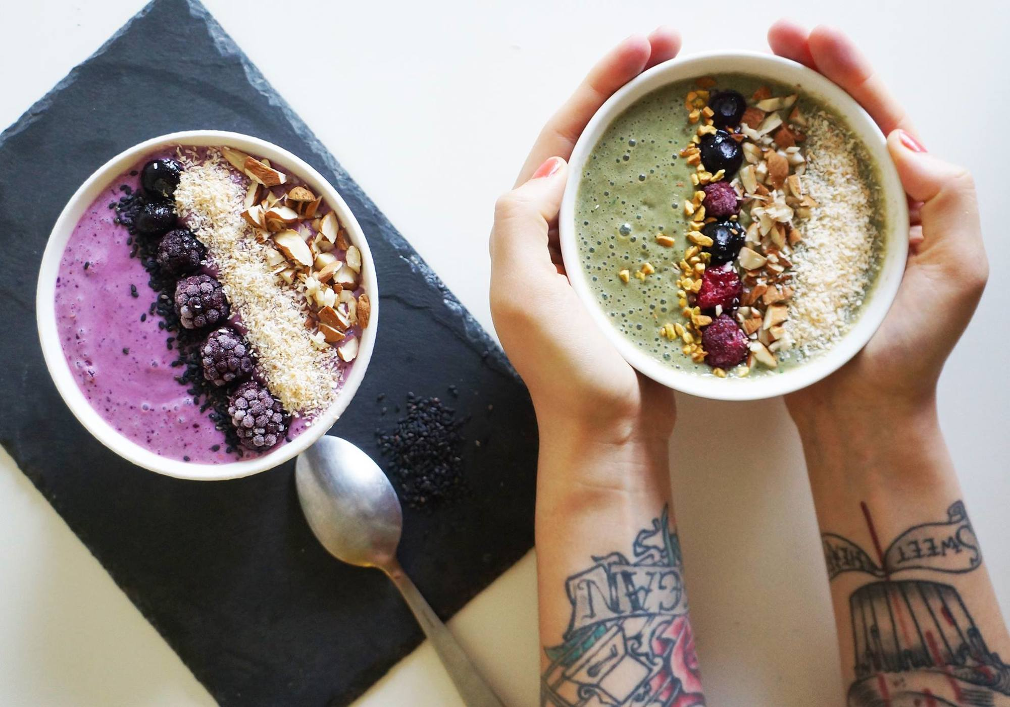 The top vegan and veggie places to eat in Paris, like Cloud Cakes for its delicious acai bowls like these colorful berry ones.