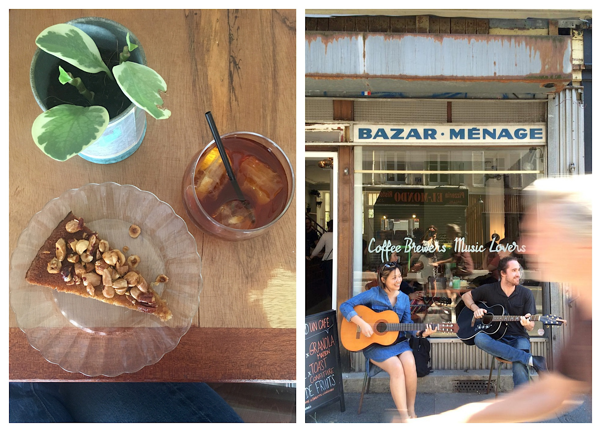 The Hood is one of the best cofee shops in Paris for cake and fruit juices (left) and sometimes in summer artists perform live music outside in front of the vintage window with an old sign that reads 'bazar - cleaning' (right).