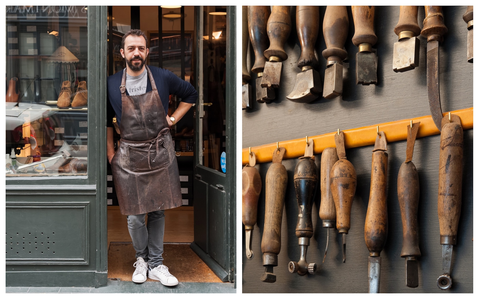 HiP Paris Blog checks out artisanal cobbler Atelier Constance in Montmartre, pictured here, Jérôme Voisin at the door (left) and his tools hanging on the wall (right).