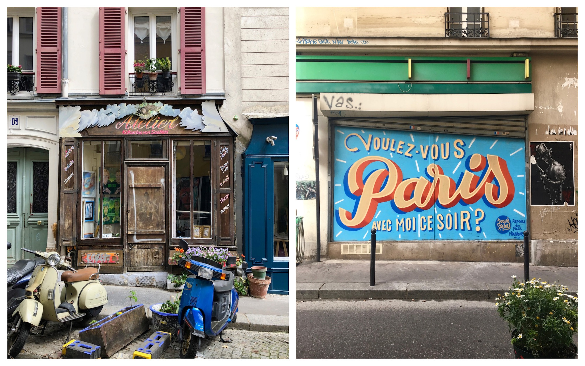 Living in Paris is all about spotting charming bars, restaurants and shops in the city, like this one with an old wood facade (left). Street art by the Toqué Frères on a shop front (right).