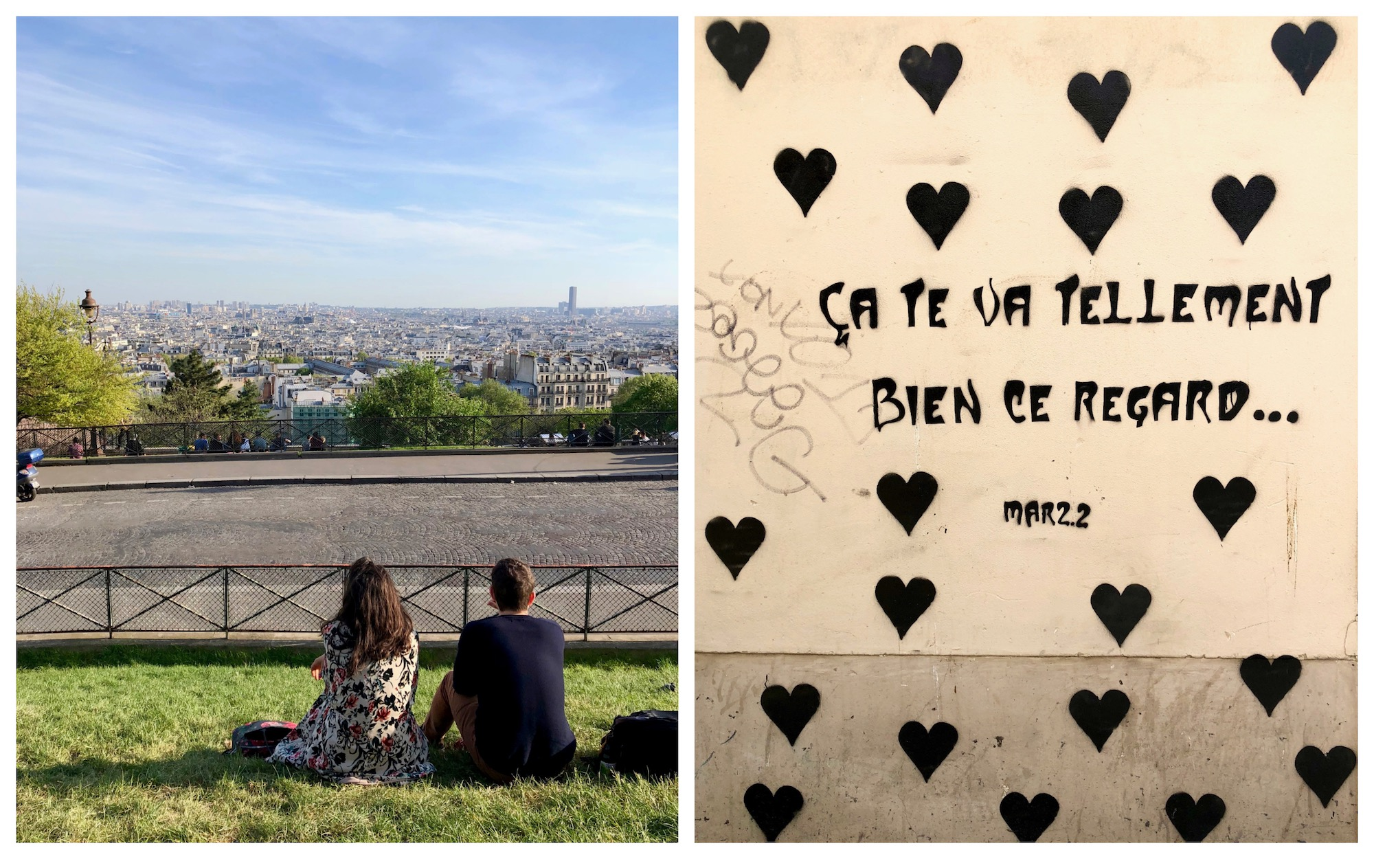 Learning French in Paris is easiest when you make friends so you can practise, like this young woman and man looking out at the views of the Paris rooftops in Montmartre (left). It also means you can understand the street art in Paris like this piece: that look in your eyes suits you so well.