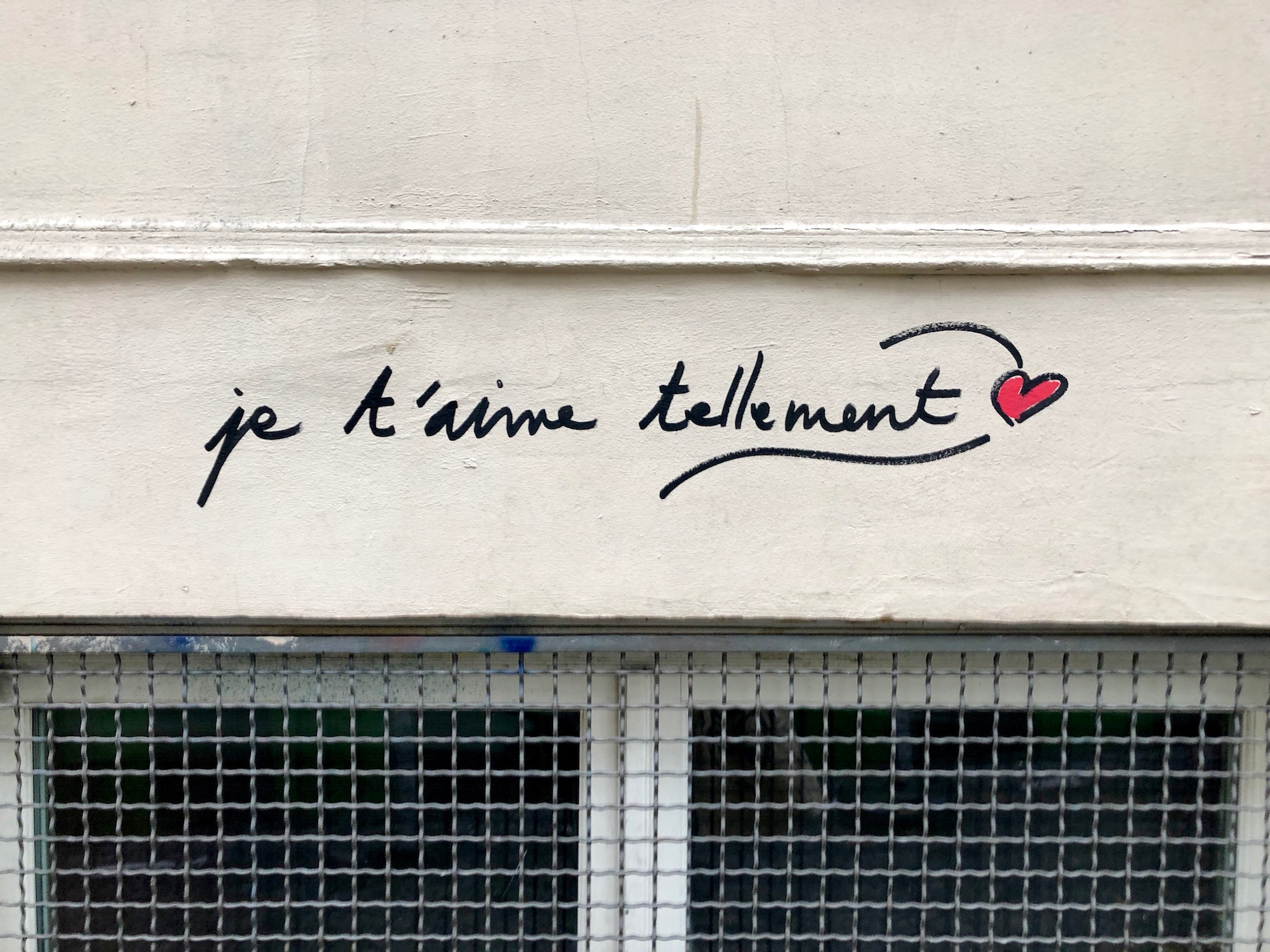 HiP Paris Blog tells you about one writer's experience learning French in Paris and exploring the street art like this piece: I love you so much.