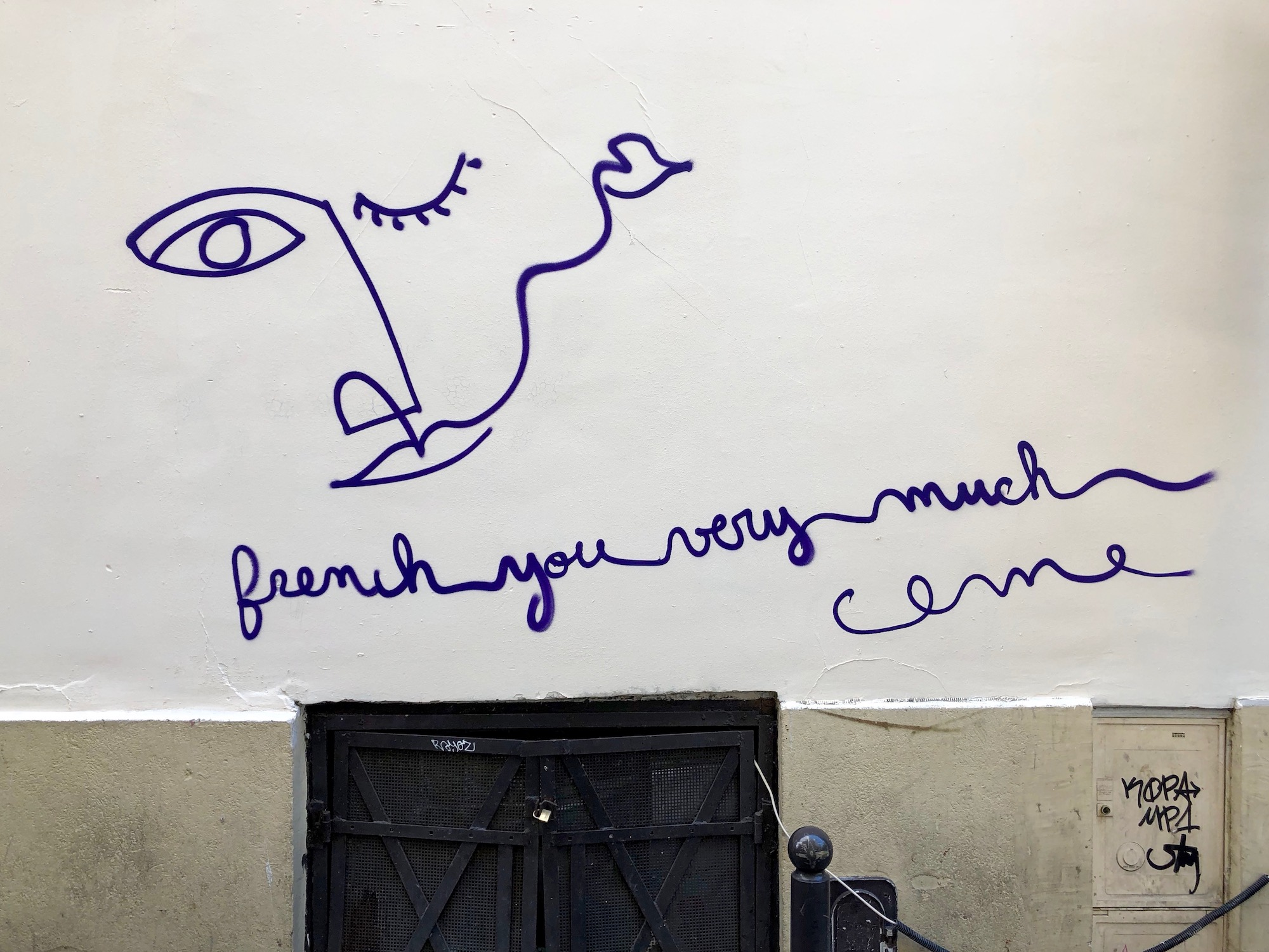 HiP Paris Blog tells you about one writer's experience learning French in Paris and how they explored the street art like this piece which reads: 'French you very much'.