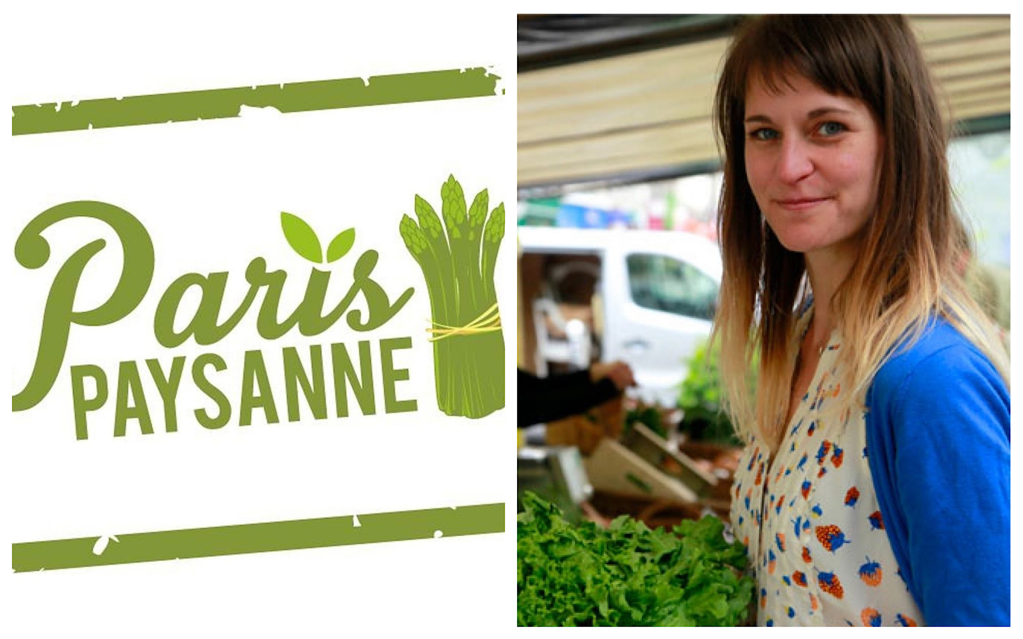 HiP Paris Blog rounds up the best Paris podcasts including Emily Dilling's Paris Paysanne show about eating in Paris. A poster for her shows (left) and a portrait of Emily at a market (right).