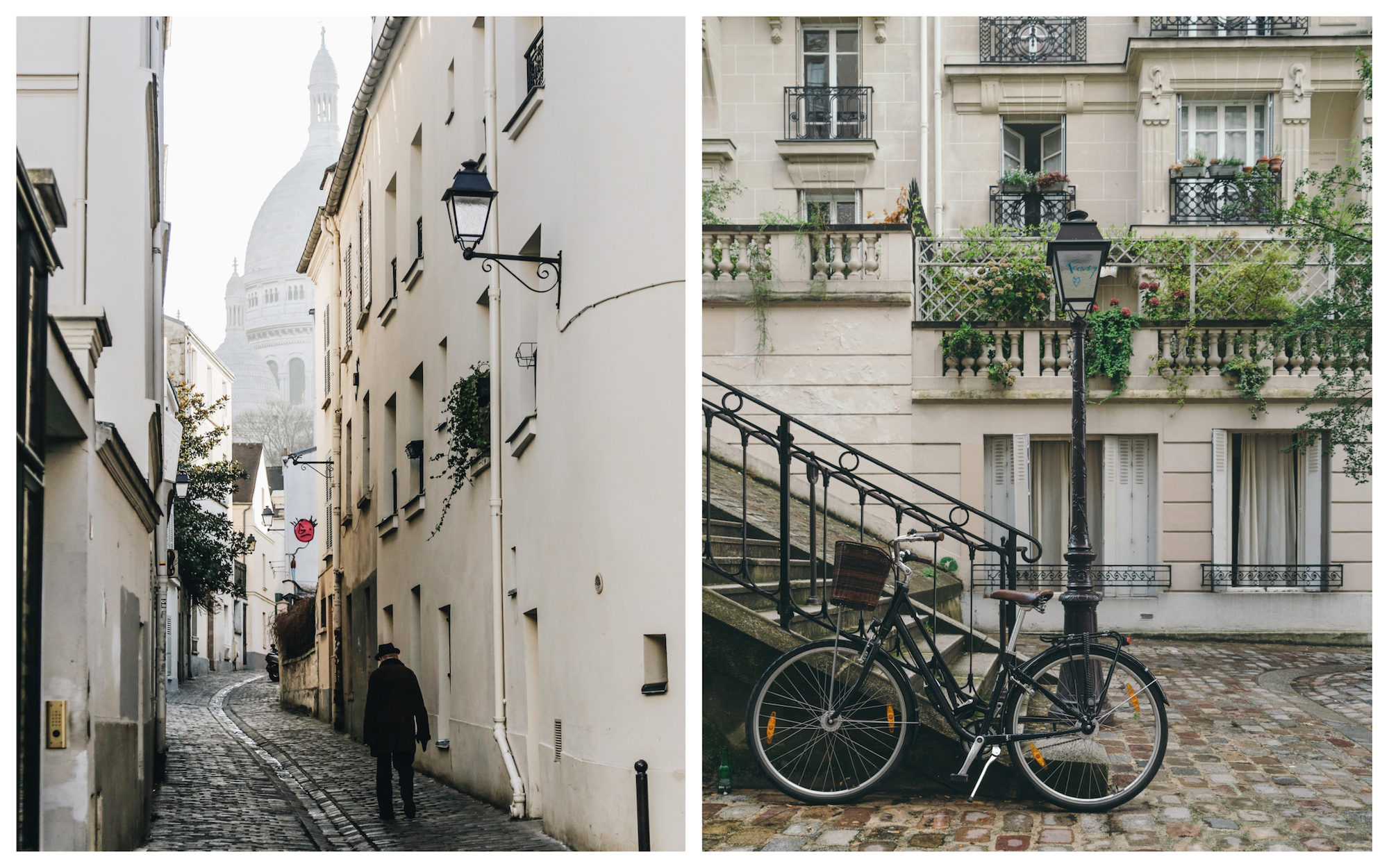 Before everyone is back in the city after the summer holidays, Paris empties, leaving you to enjoy the quiet streets of Montmartre like this lone man walking towards the Sacré Coeur (left). A bike with a basket parked on a cobblestone square in Montmartre (right).