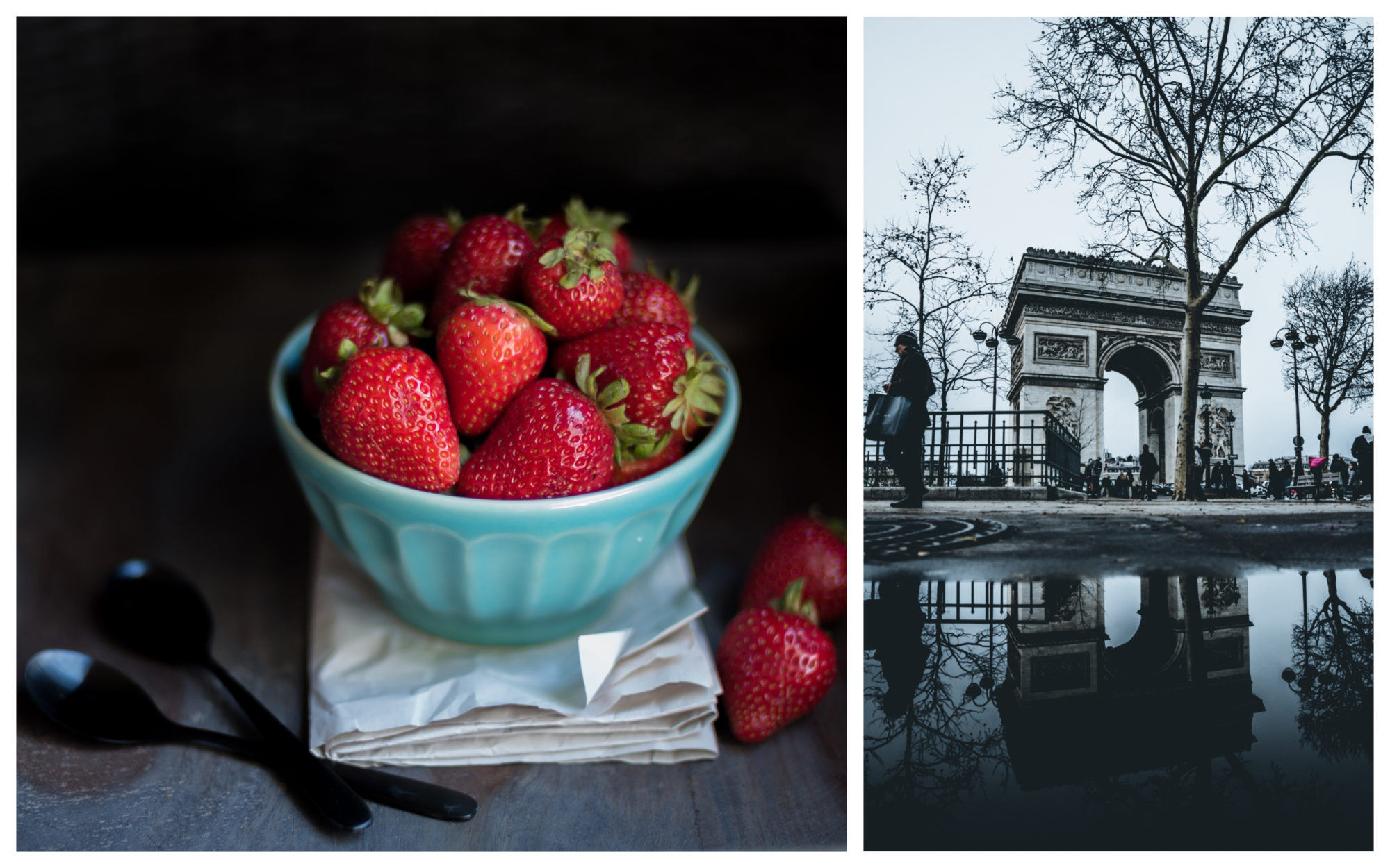 A blue bowl filled with red juicy strawberries, the perfect snack for summer in Paris (left). The Arc de Triomphe in Paris (right).