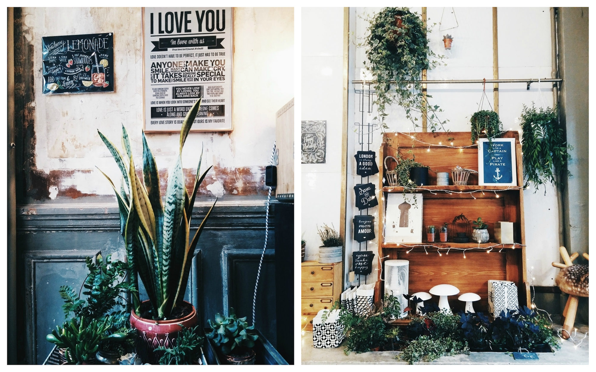 Plants and artisanal gifts like vintage posters (left) and handcrafted home decoration items (right) at Les Fleurs store in Paris.