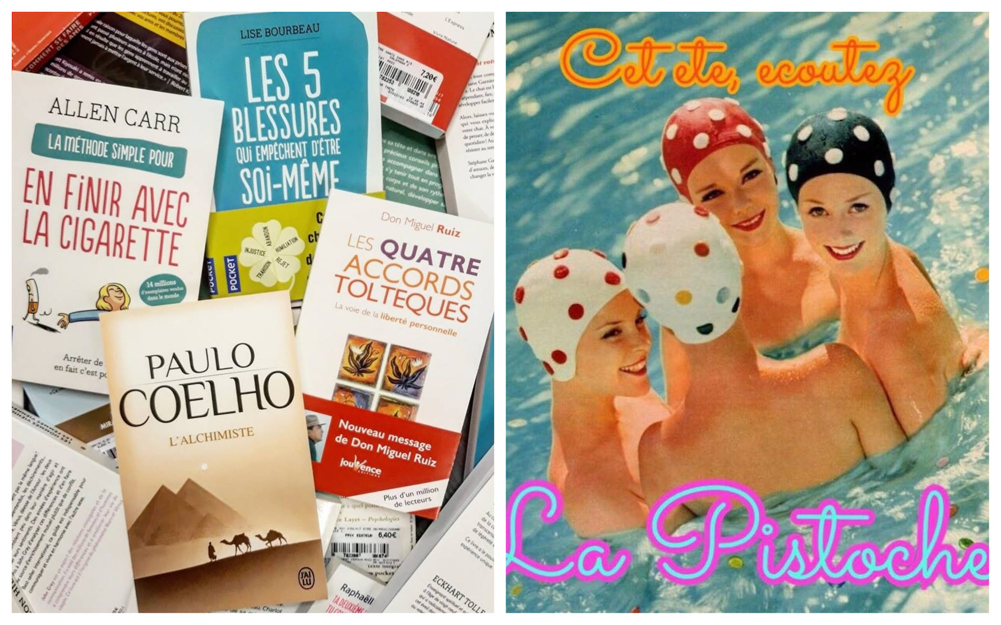 Books to take with you to the beach this summer (left). A retro poster for La Pistoche podcast with four women in a pool wearing spotted bathing caps (right).