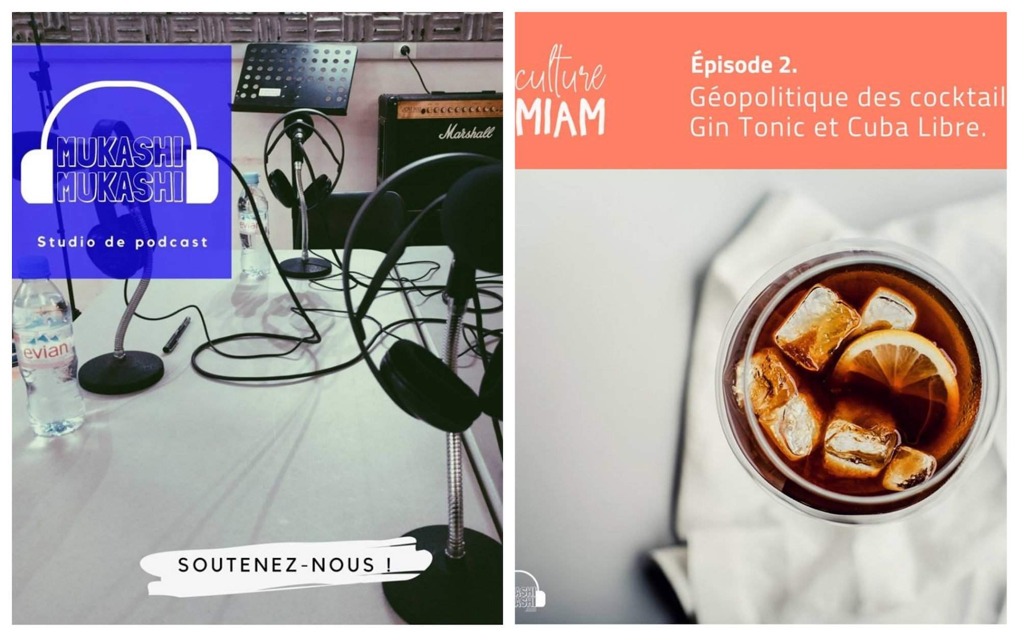 HiP Paris Blog rounds up the best French podcasts to listen to this summer like Mukashi Mukashi (left) and Culture Miam all about food and drink (right).