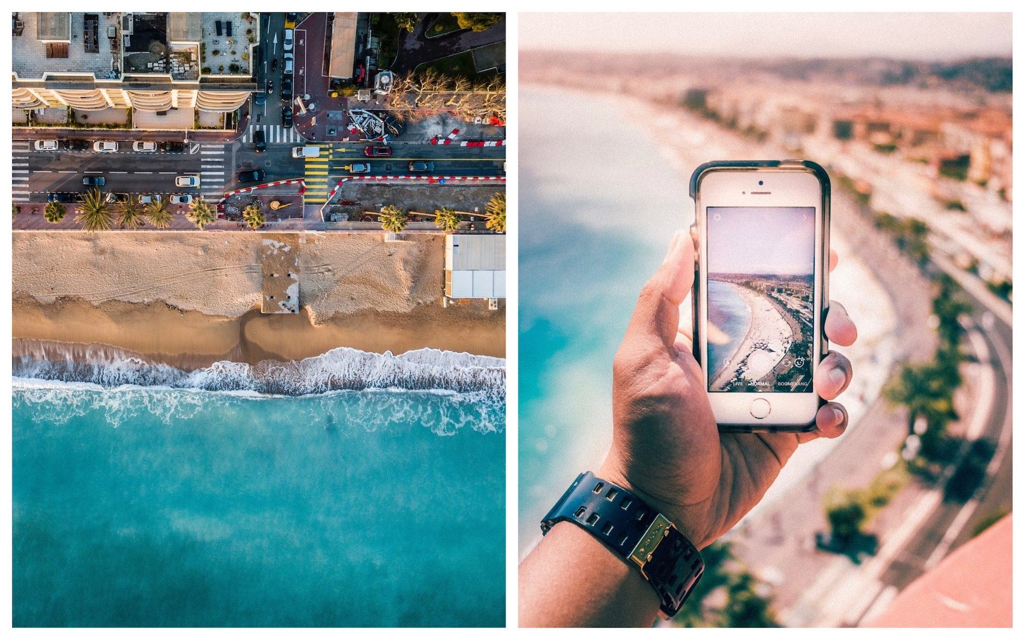 HiP Paris Blog rounds up the best French podcasts to listen to this summer whether you're going to be lying on a sandy beach (left) or exploring a new city (right).