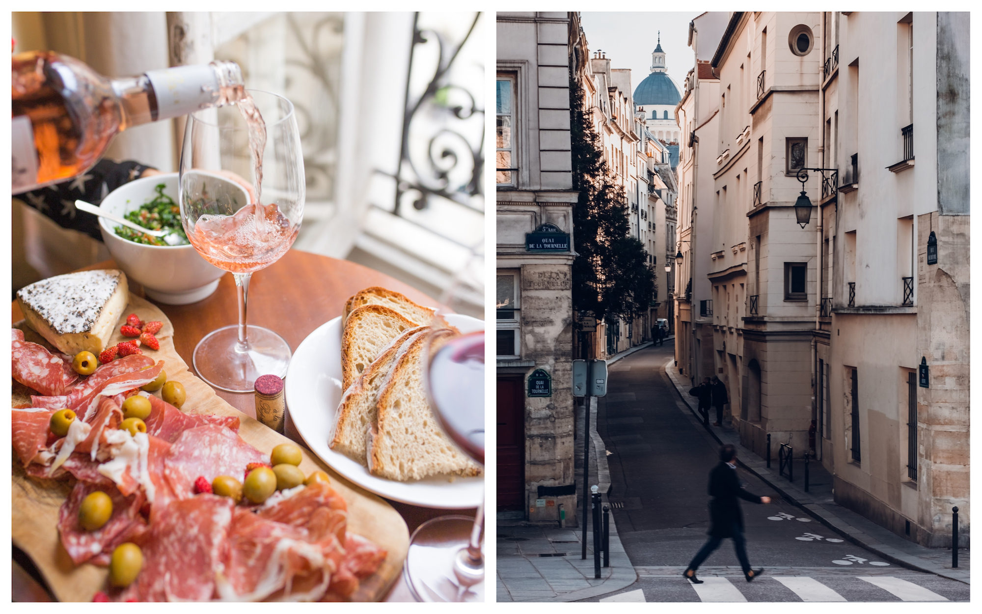 HiP Paris Blog tells the story of la rentree, when Parisians return to the city after summers of aperitifs of hams and wine (left). Paris is quietest in the summer and it's possible to have the city to yourself (right).