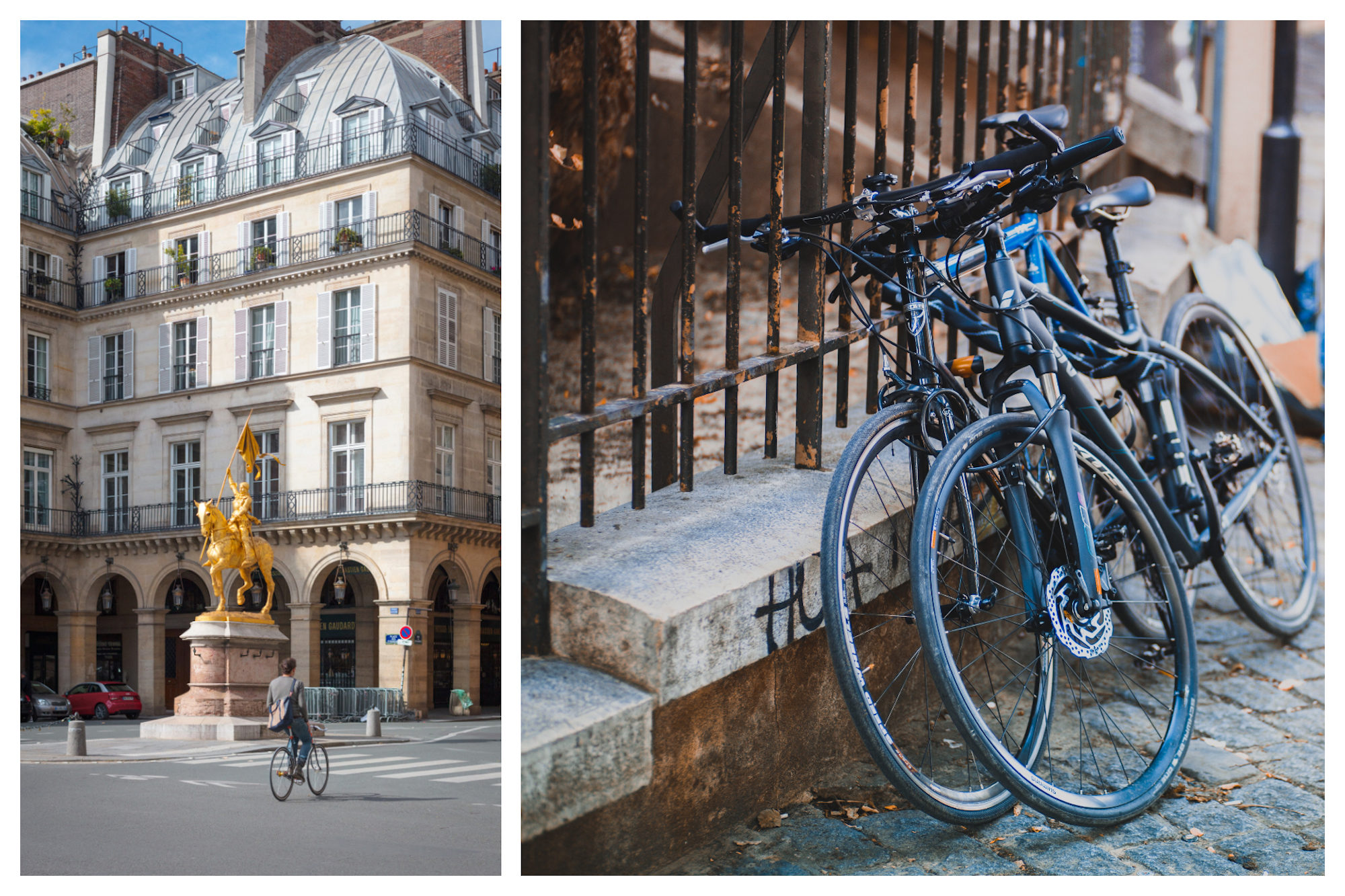 Cycling around Paris in summer is the best way of exploring the city's wonderful architecture like that of historic Hotel Regina (left). Bikes tied to a railing on a cobblestone street in Paris (right).