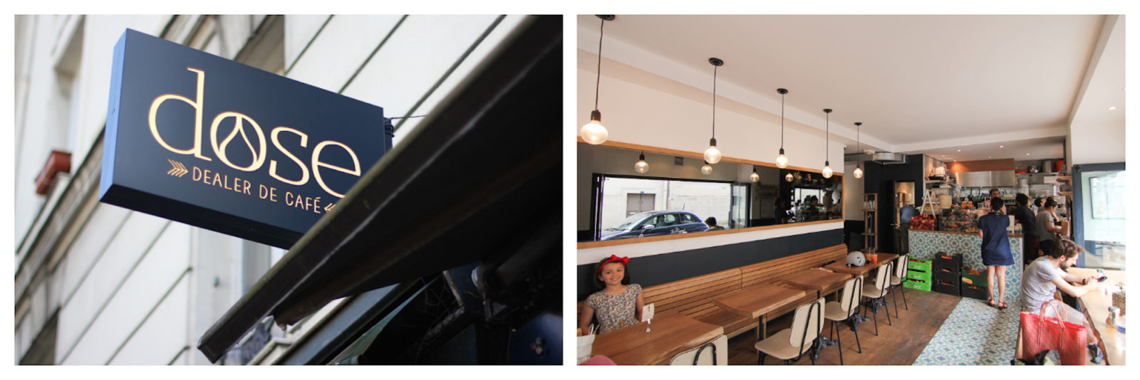 Favorite Paris coffee shop in Paris' Batignolles area, Dose Dealer Cafe (left). Inside Dose Paris coffee shop, it's light and bright with timber tables and Danish style chairs (right).