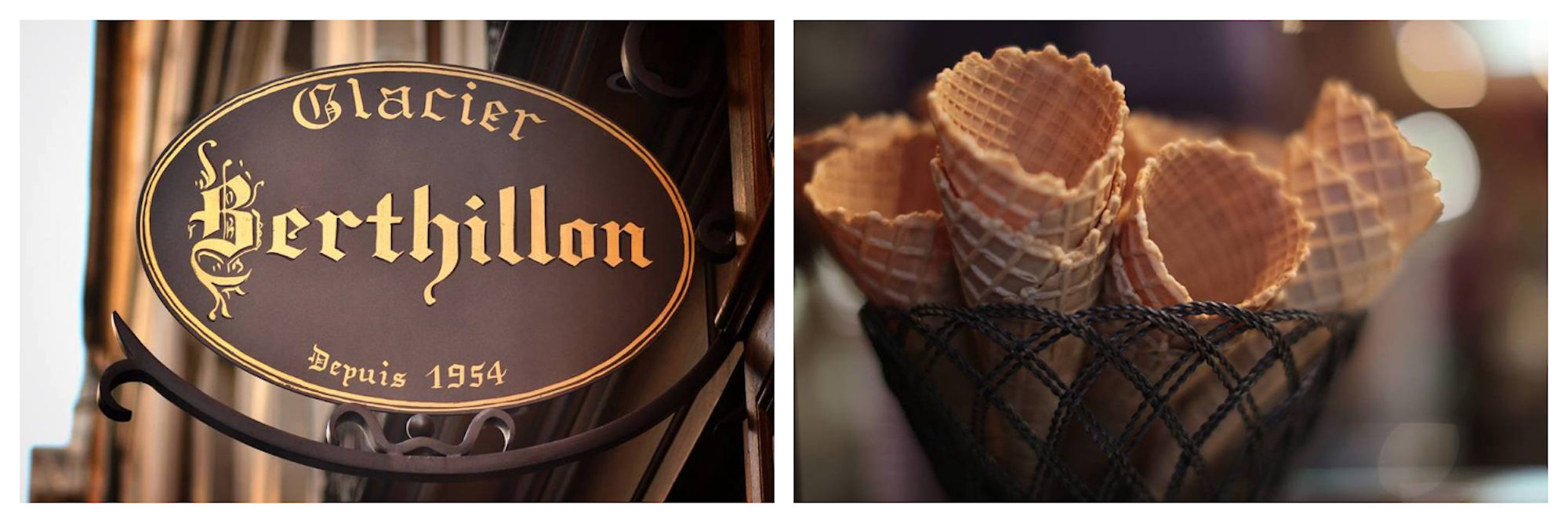 There's no place like Berthillon for ice cream in Paris (left). Delicate Berthillon ice cream cones in a wire basket (right).