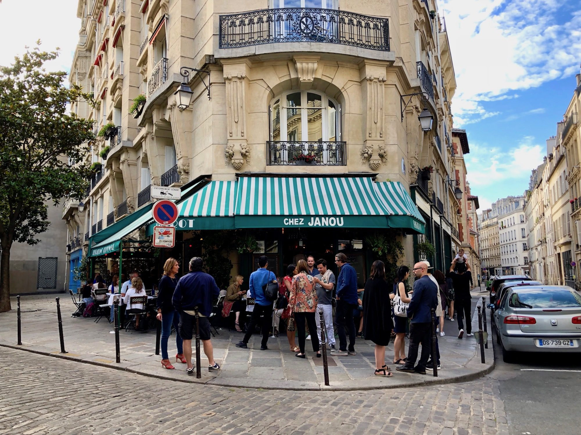 Chez Janou Restaurant in Paris is a local favorite for its classic French food and bistro interiors.