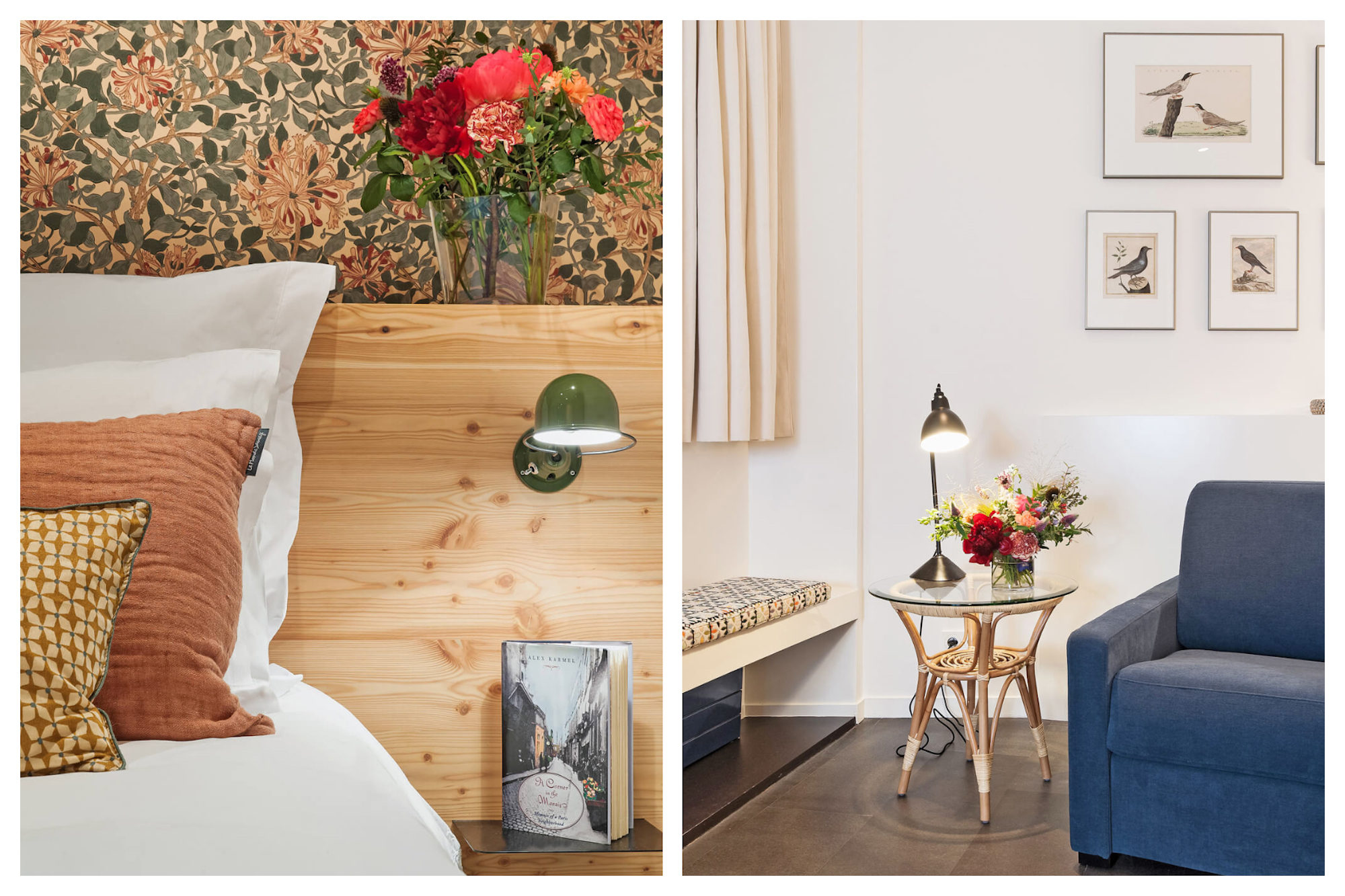 Favorite spots to rent an apartment in Paris include Hotel de Ville in the city centre, like this 1-bedroom apartment with a cozy bedroom with flowery wallpaper (left). The stylish living room of a Paris rental apartment with a blue armchair and bird pictures on the walls (right).