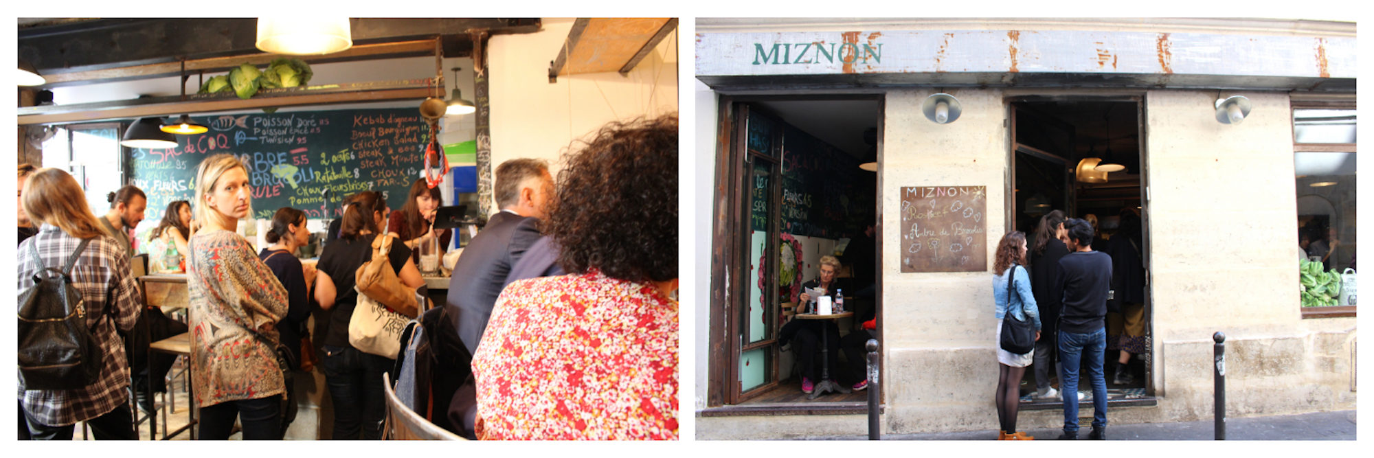 Hungry locals waiting for their falafel at Miznon restaurant in Paris (left). Miznon restaurant in Paris exterior with two people waiting in line (right).