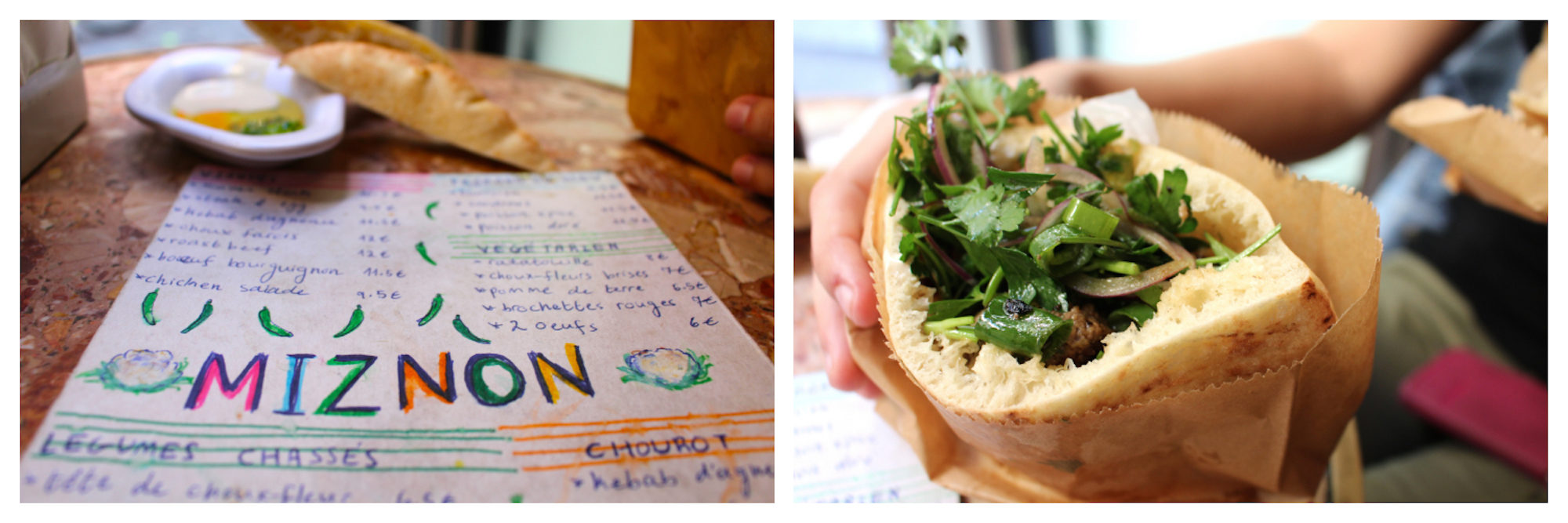 Where to eat falafel in the Marais in Paris? At Miznon with a menu of delicious Israeli dishes (left) including warm pita falafel sandwiches (right).