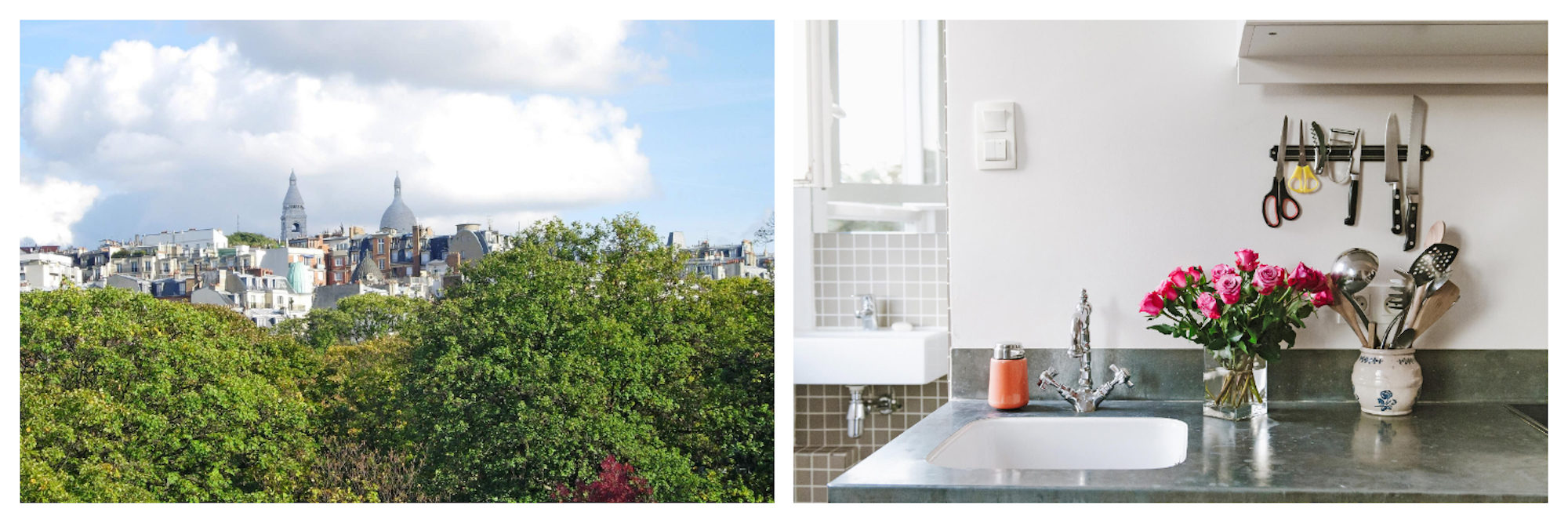 Beautiful Paris spots then and now, including a canopy of trees with the Sacré Coeur Basilica peeping out the top (left). A bunch of pink tulips on the counter of a Paris rental apartment (right).