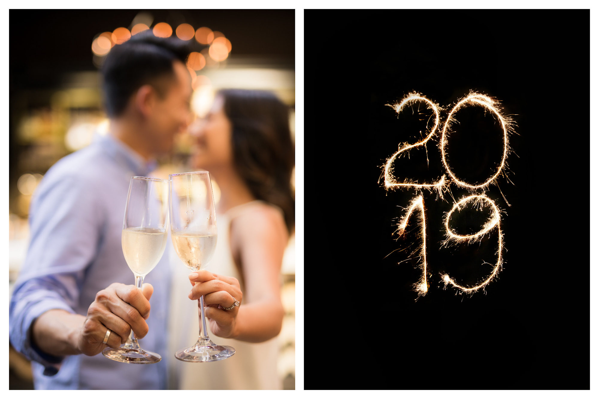 A couple clinking glasses of champagne and about to kiss on New Year's Eve (left). Sparklers that spell out '2019' for New Year's Eve in Paris (right).
