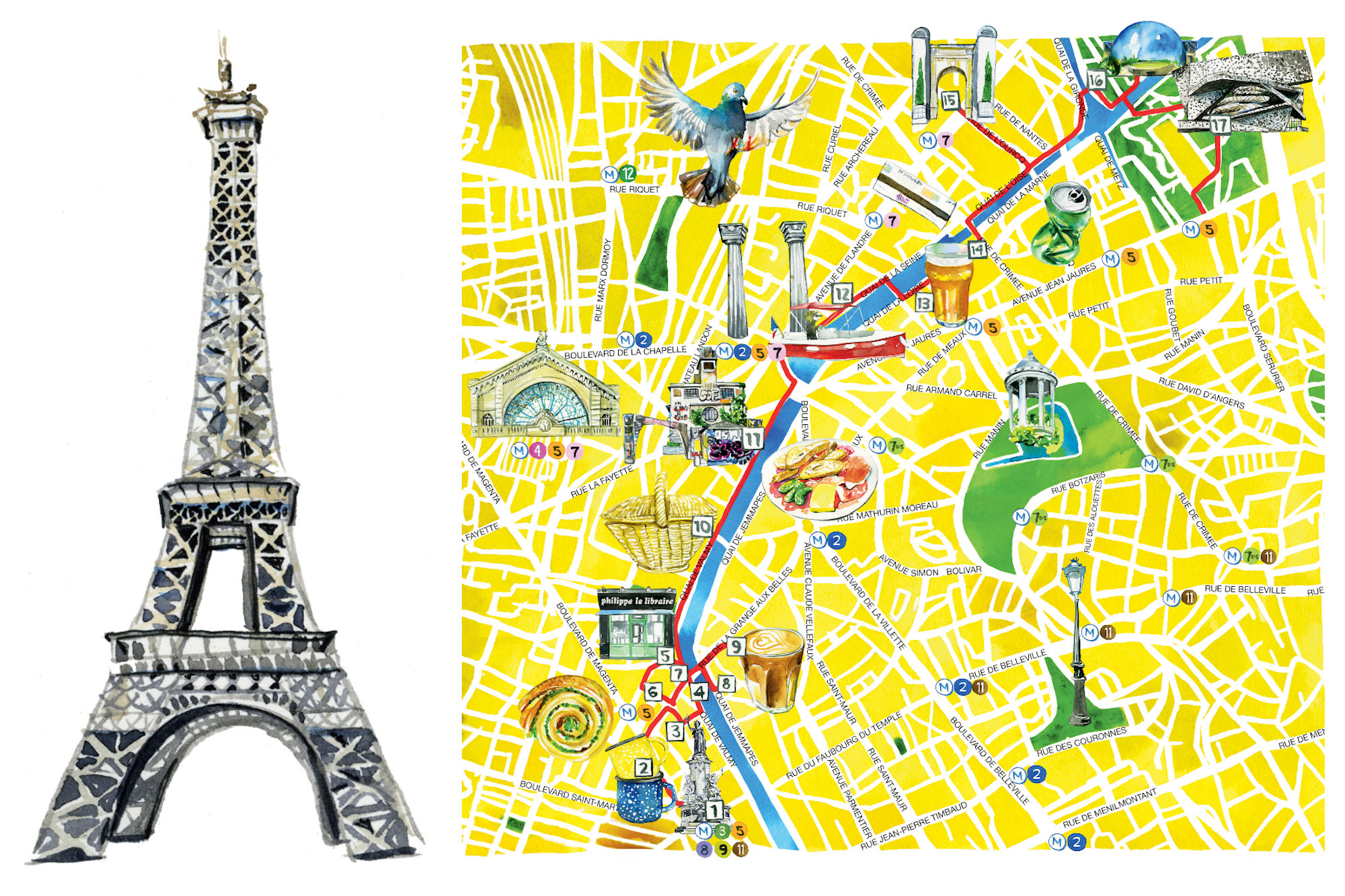 Jessie Kanelos Weiner's watercolor illustrations in the guidebook 'Paris in Stride' include the Eiffel Tower (left) and a map of things to do in Paris (right).