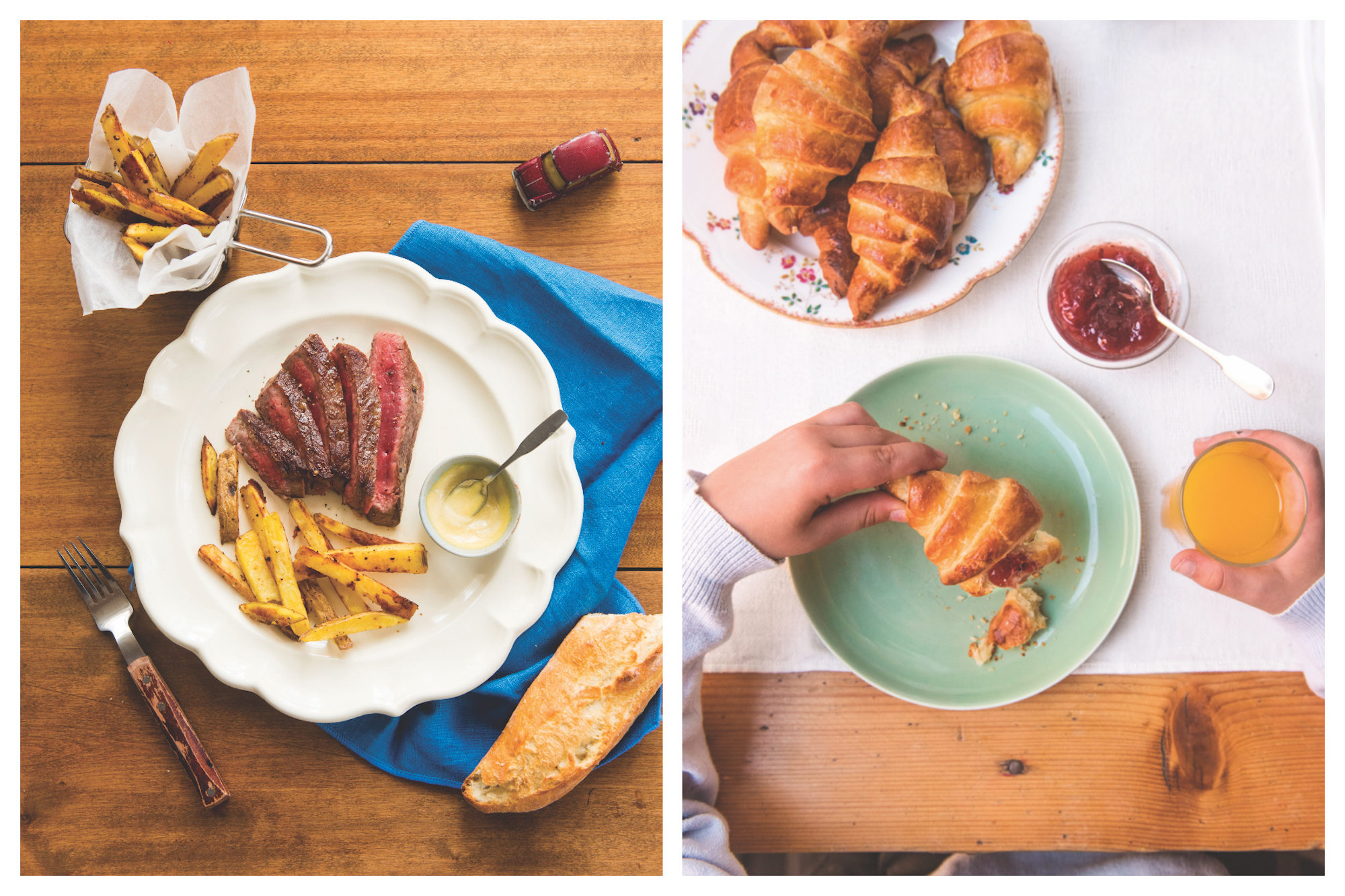 Perfectly cooked steak and frites French style in author Mardi Michels cookbook (left). Butter croissants, homemade jams and freshly-pressed orange juice (right).