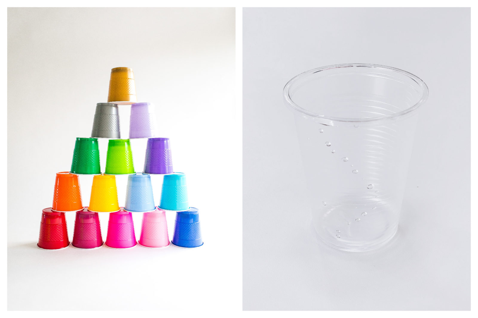 Don't be tempted by colorful plastic cups like those arranged in a pyramid here (left) and forget the common plastic cup (right) as France's plastic ban on single-use plastics comes into play.