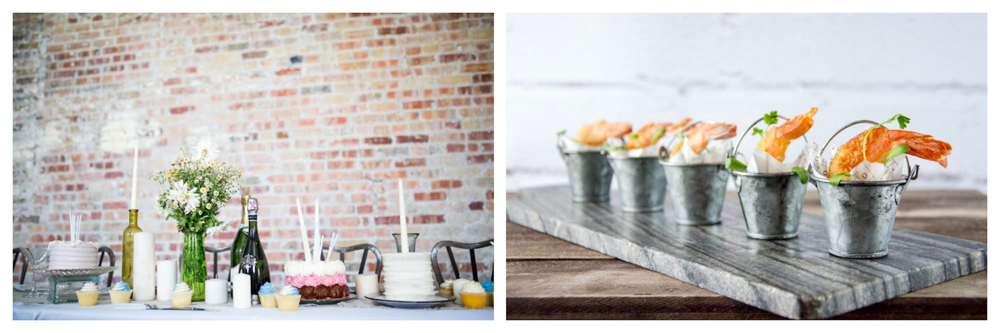 Champagne can go really well with dessert cake (left) or seafood appetizers (right).