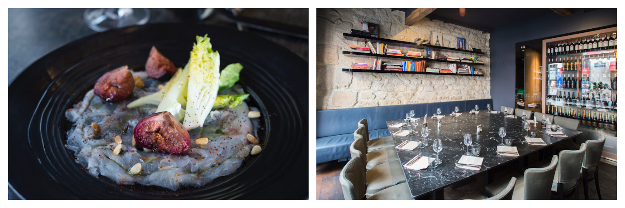 Fish carpaccio and fresh figs (left) at the cozy Atelier Maitre Albert with a large private dining space (right), one of our favorite restaurants on Paris' Left Bank