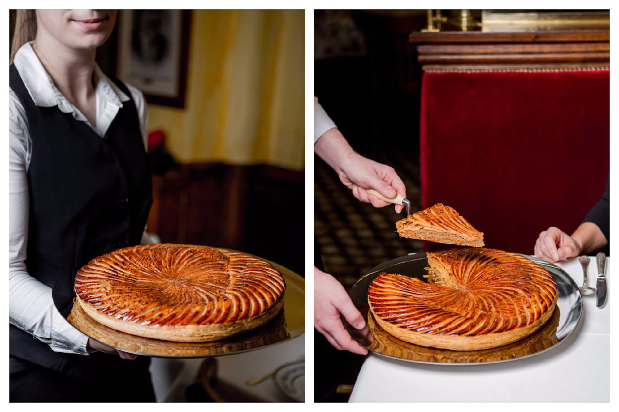 A Galette des Rois at Benoit restaurant near Notre Dame Cathedral in Paris on the Right Bank