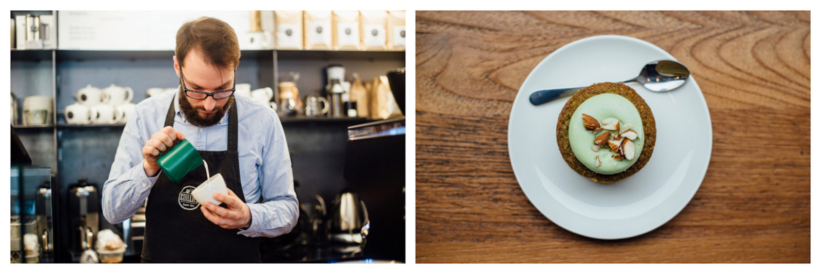 A barista making coffee (left) and a homemade cake with icing at Cuillier coffee shop in Paris' St Germain Neighborhood (right).