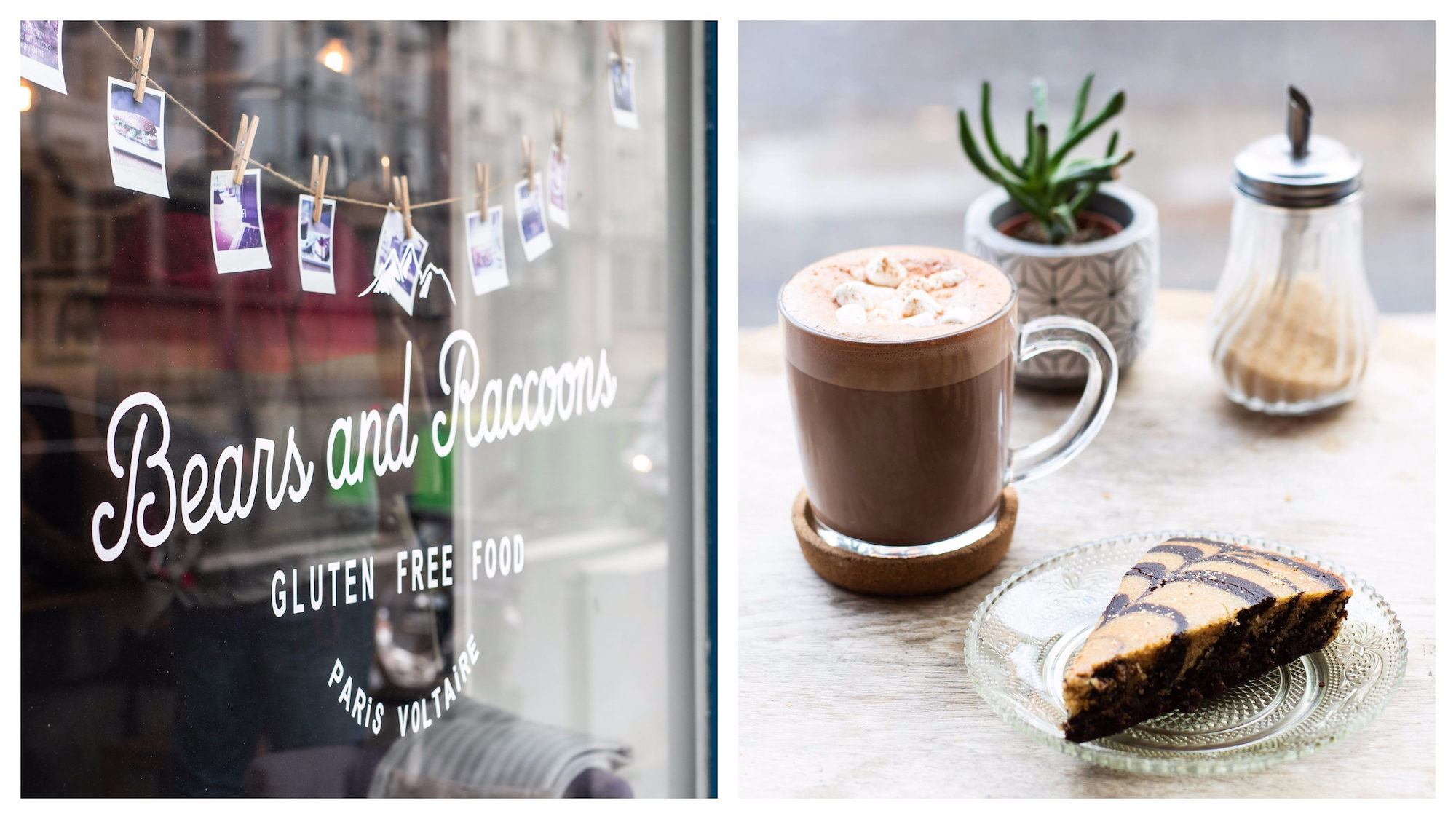 The best gluten-free lunch spots in Paris, including Bears and Racoons which offers delicious hot chocolate and cakes.