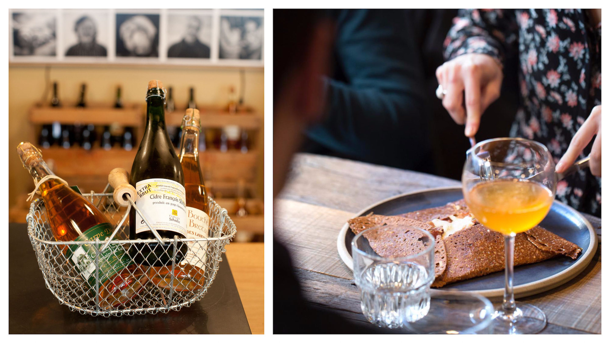 For the best gluten-free pancakes in Paris (right), head to Breizh Cafe, which also offers natural wines and ciders (left).