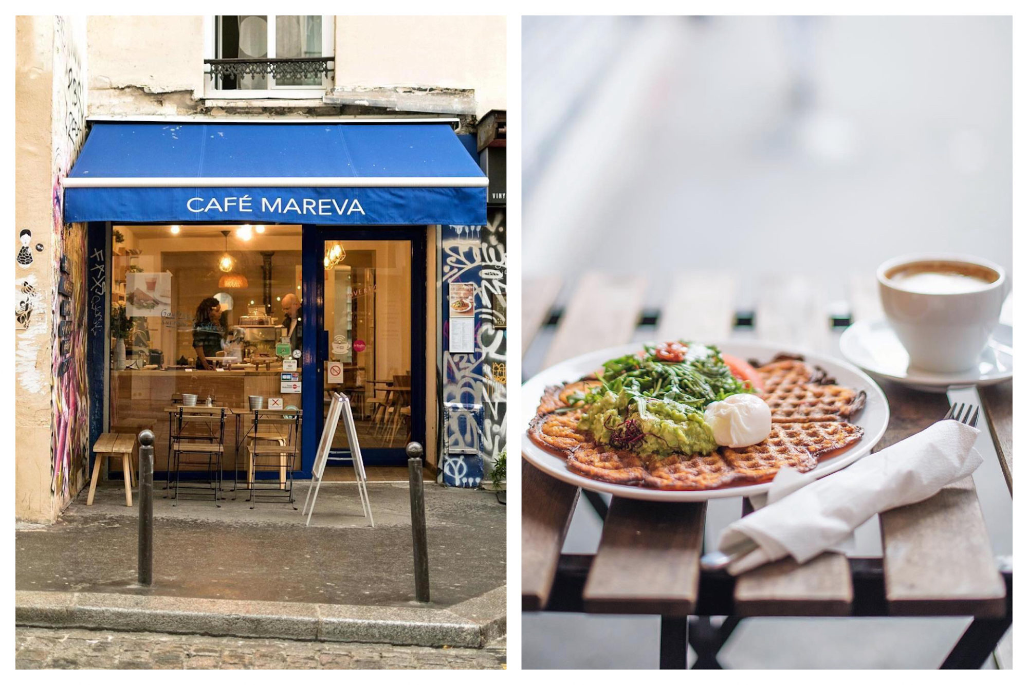 Outside best gluten-free coffee shop in Paris, Mareva with its blue awning (left) and it's tasty gluten-free waffles with avocado and poached eggs (right).