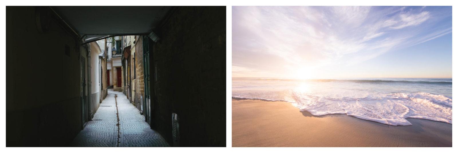 Exploring Paris' narrow winding passageways (left). A dreamy deserted beach and big blue skies at sunrise (right).