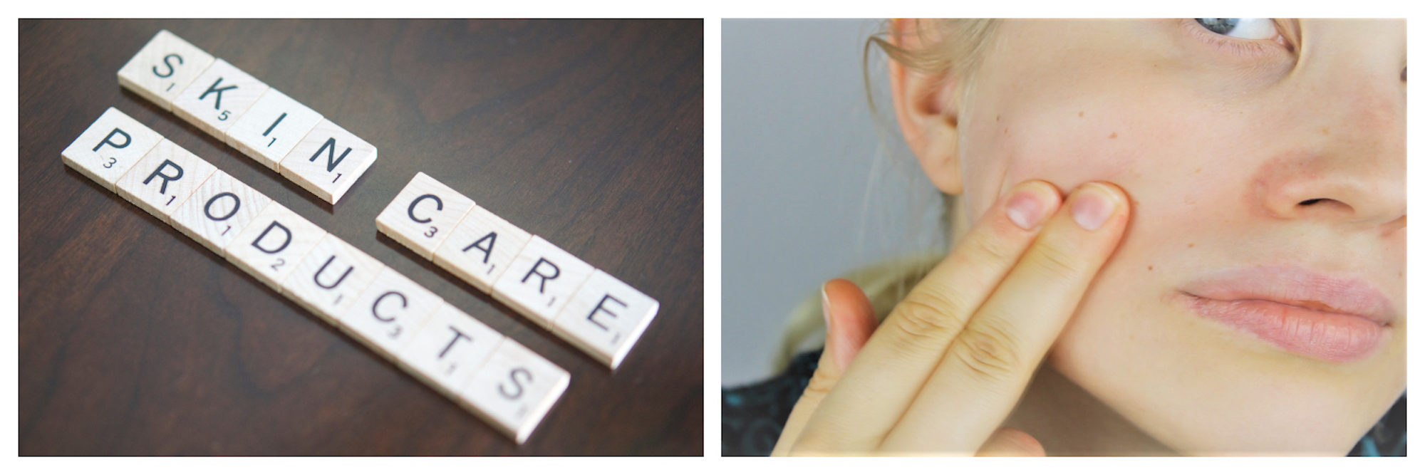 Buy discounted skincare products for less at French pharmacies. Scrabble letters spelling 'Skin care products' (left) and a young woman examining her skin (right).