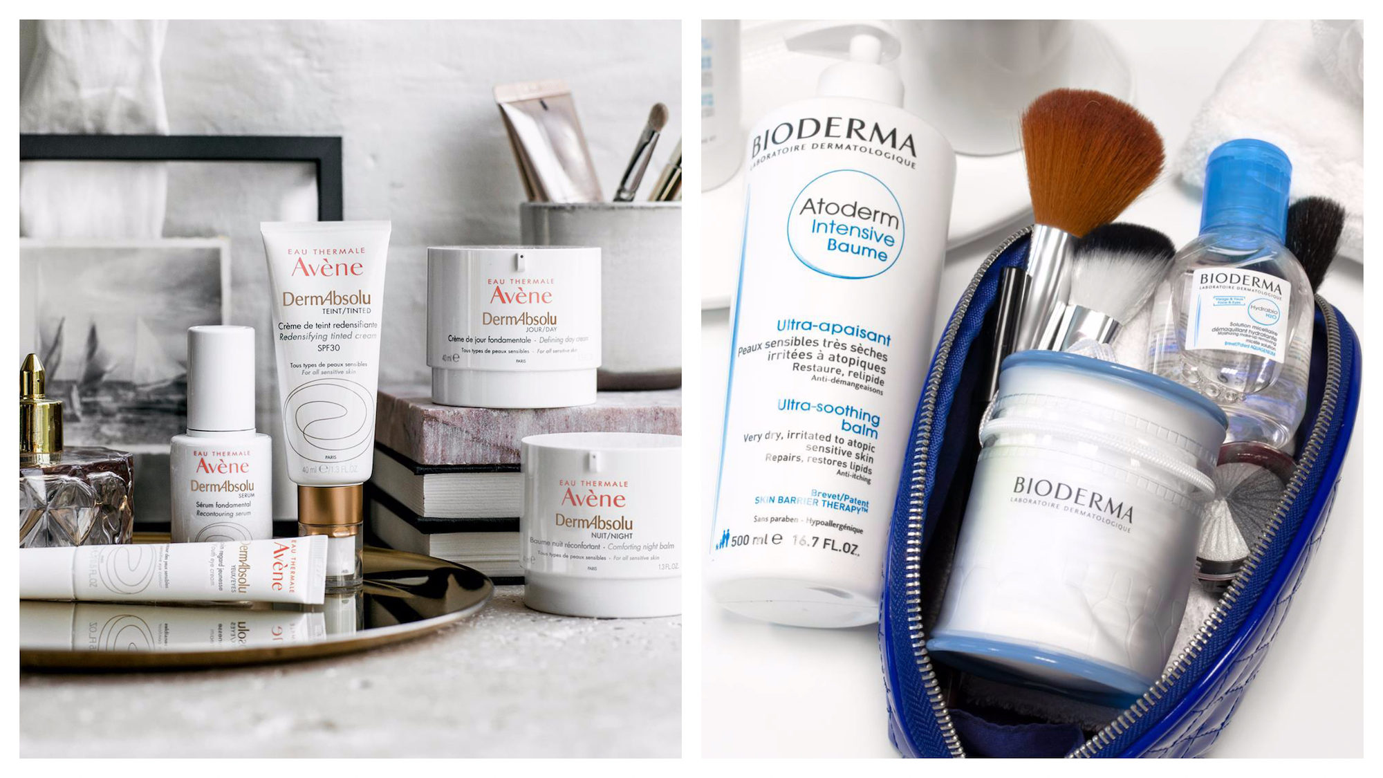 The French pharmacy, a haven for buying French beauty products for less in Paris, like go-to brand Avène skincare (left) and Bioderma beauty products, which also come in travel size (right).