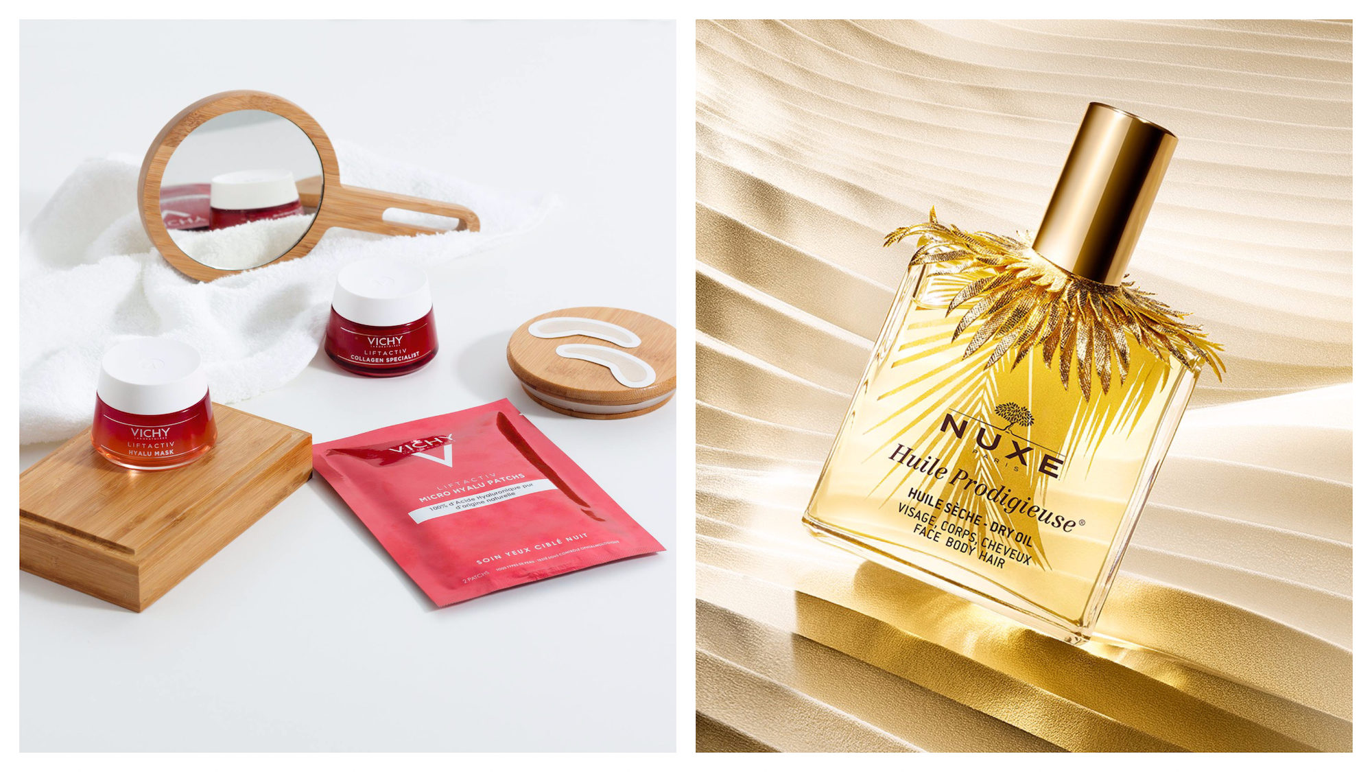 The French pharmacy is the best place to shop for French beauty products for less in Paris, like Vichy skincare (left) and luxurious, delicious-smelling Nuxe dry oil for your hair and skin (right).