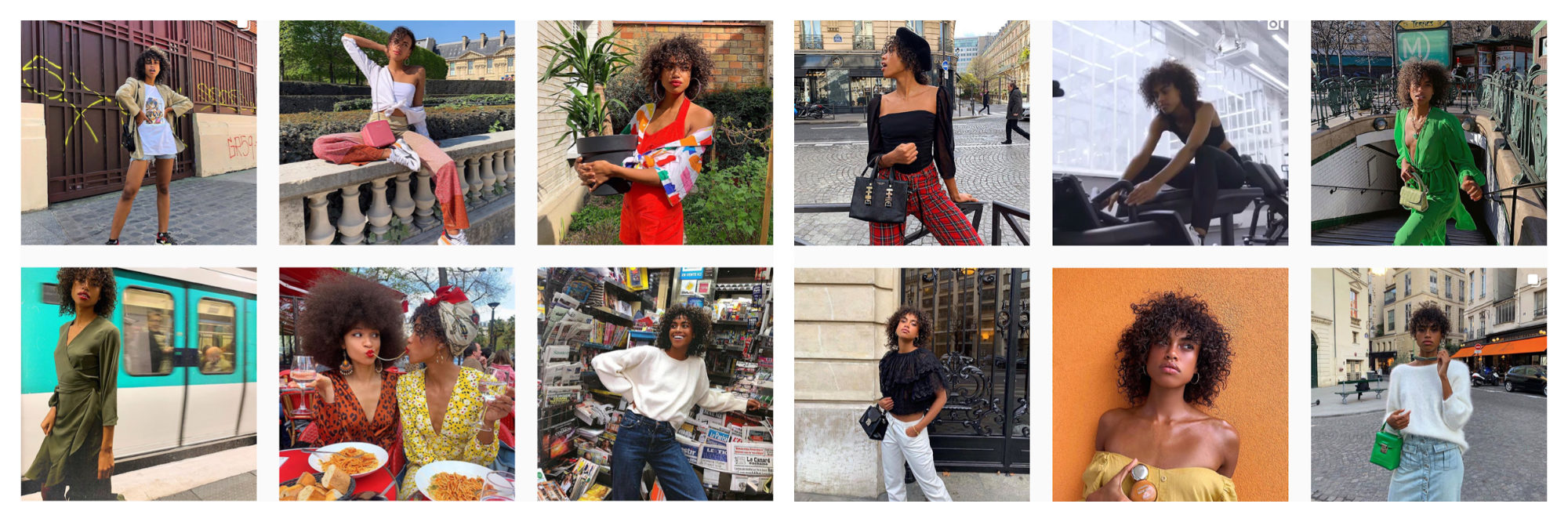 A selection of images of French Instagram fashion influencer Hanna Lhoumeau.