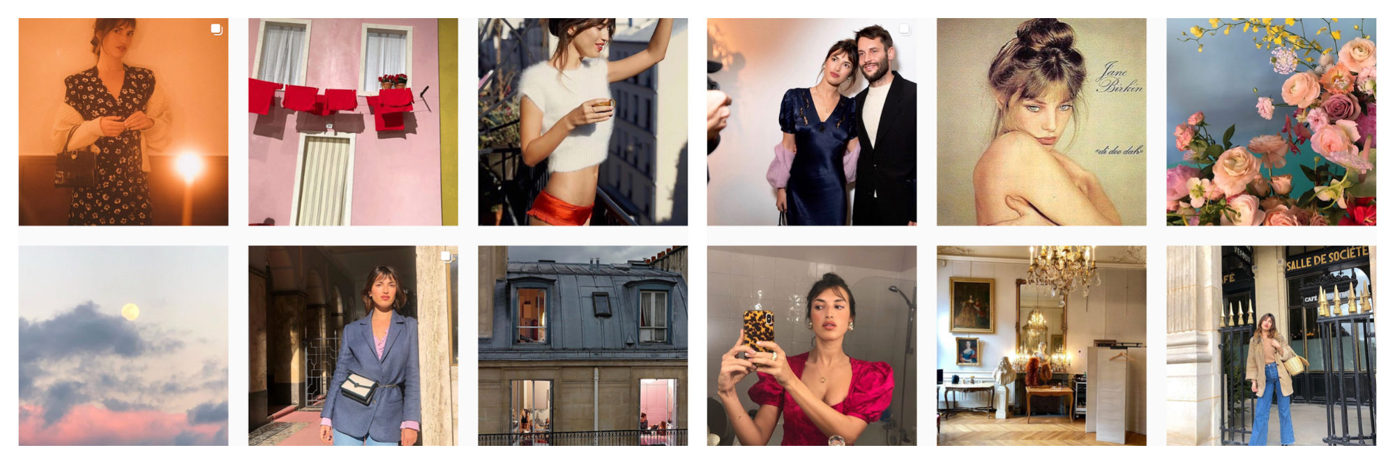 A selection of images of French Instagram fashion influencer Jeanne Damas.