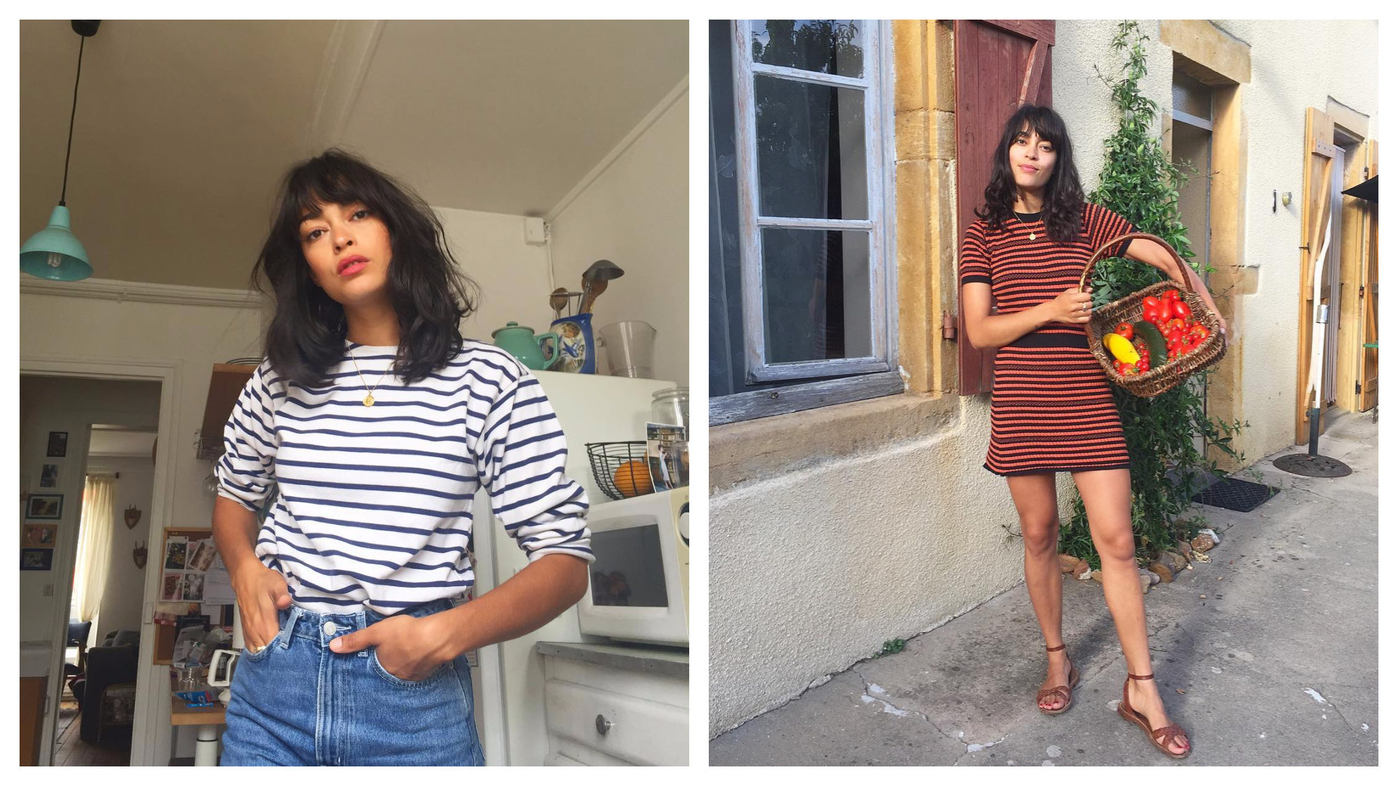 Instagram French fashion influencer Julia Jean-Baptiste, wearing a striped white and navy top with jeans (left) and seen here, wearing a striped max dress, carrying a basket of tomatoes (right).