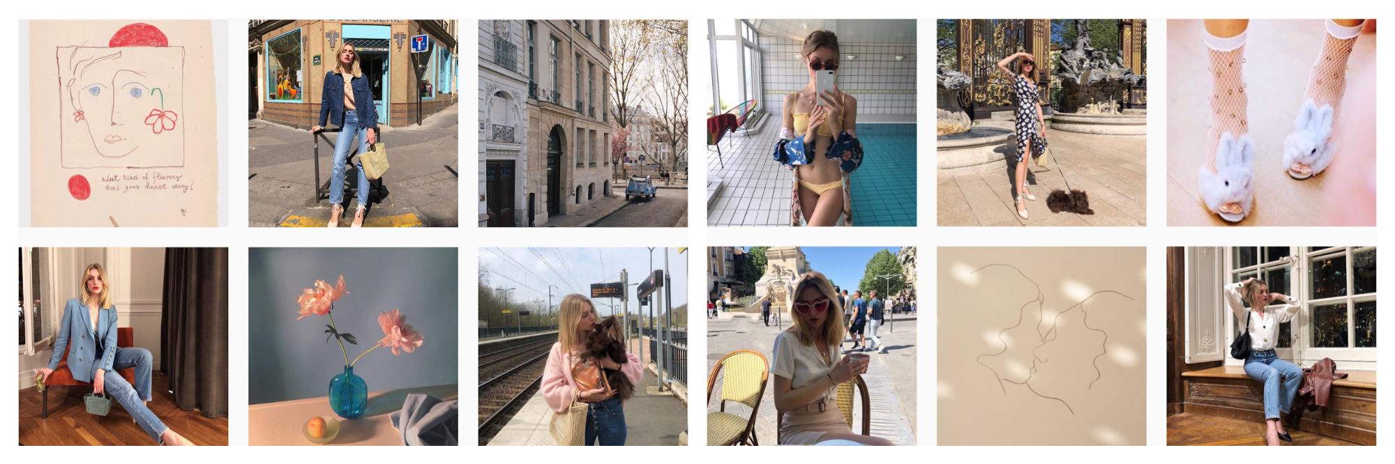 A selection of images of French Instagram fashion influencer Lucie Mahé.