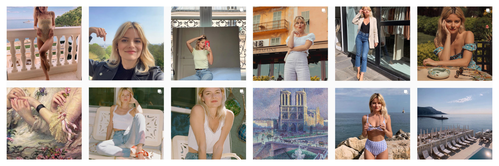 A selection of images of French Instagram fashion influencer Sabina Socol.