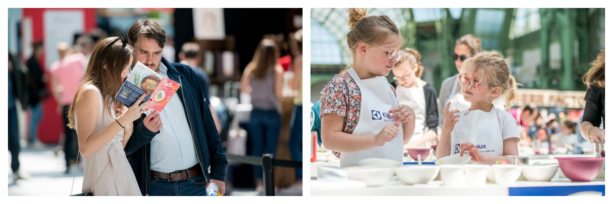 The annual food festival Taste of Paris takes place each May in Paris where people come to explore the different stalls (left) and there are also kids' workshops (right).