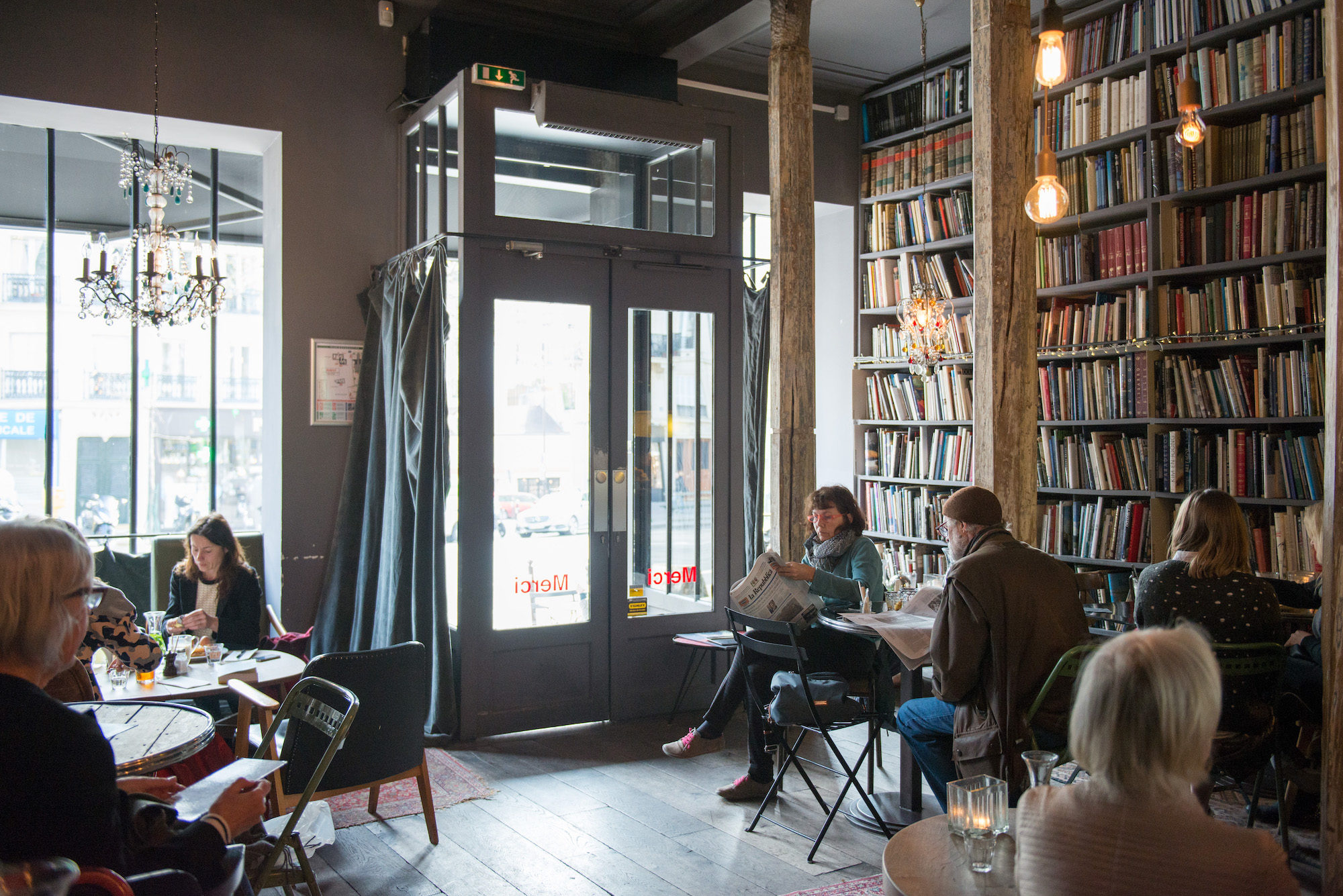 Merci, the second-hand bookstore and café of the popular home and fashion store, is a favorite Marais spot with Parisians and expats.