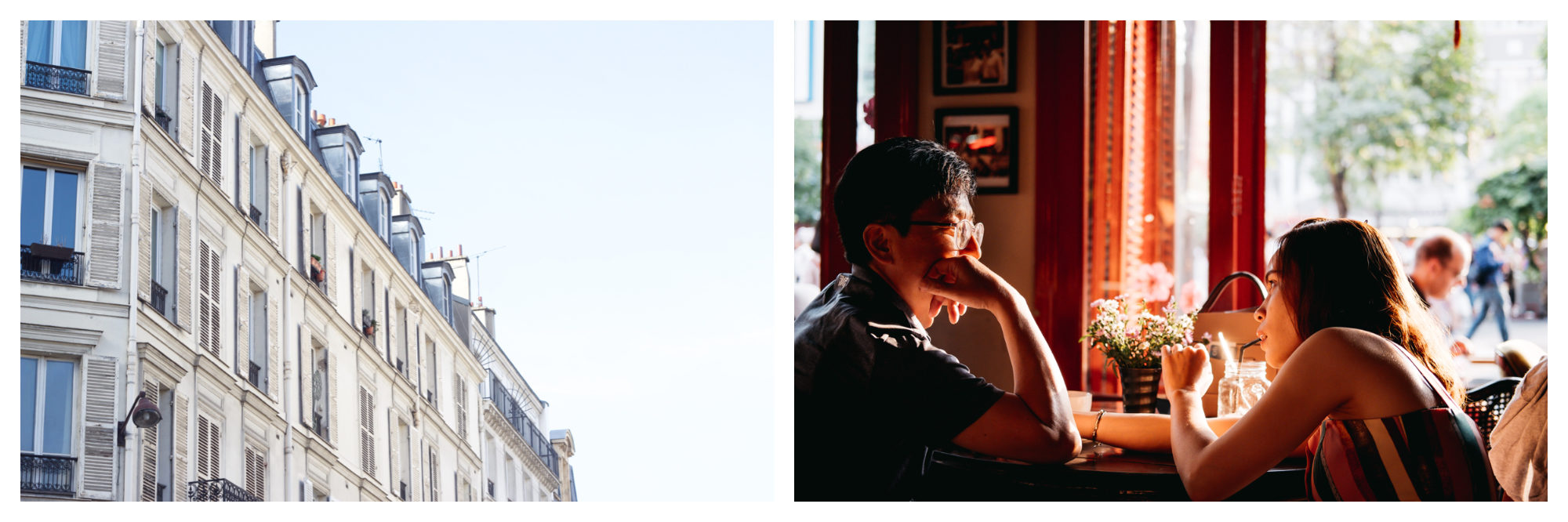A white Parisian apartment building (left). An Asian couple having a drink at a café in Paris in summer (right).