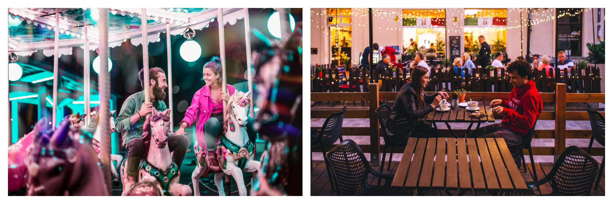Paris has lots of date spots, including picturesque merry-go-rounds like the one this smiling couple if riding (left), as well as restaurants and bars (right).