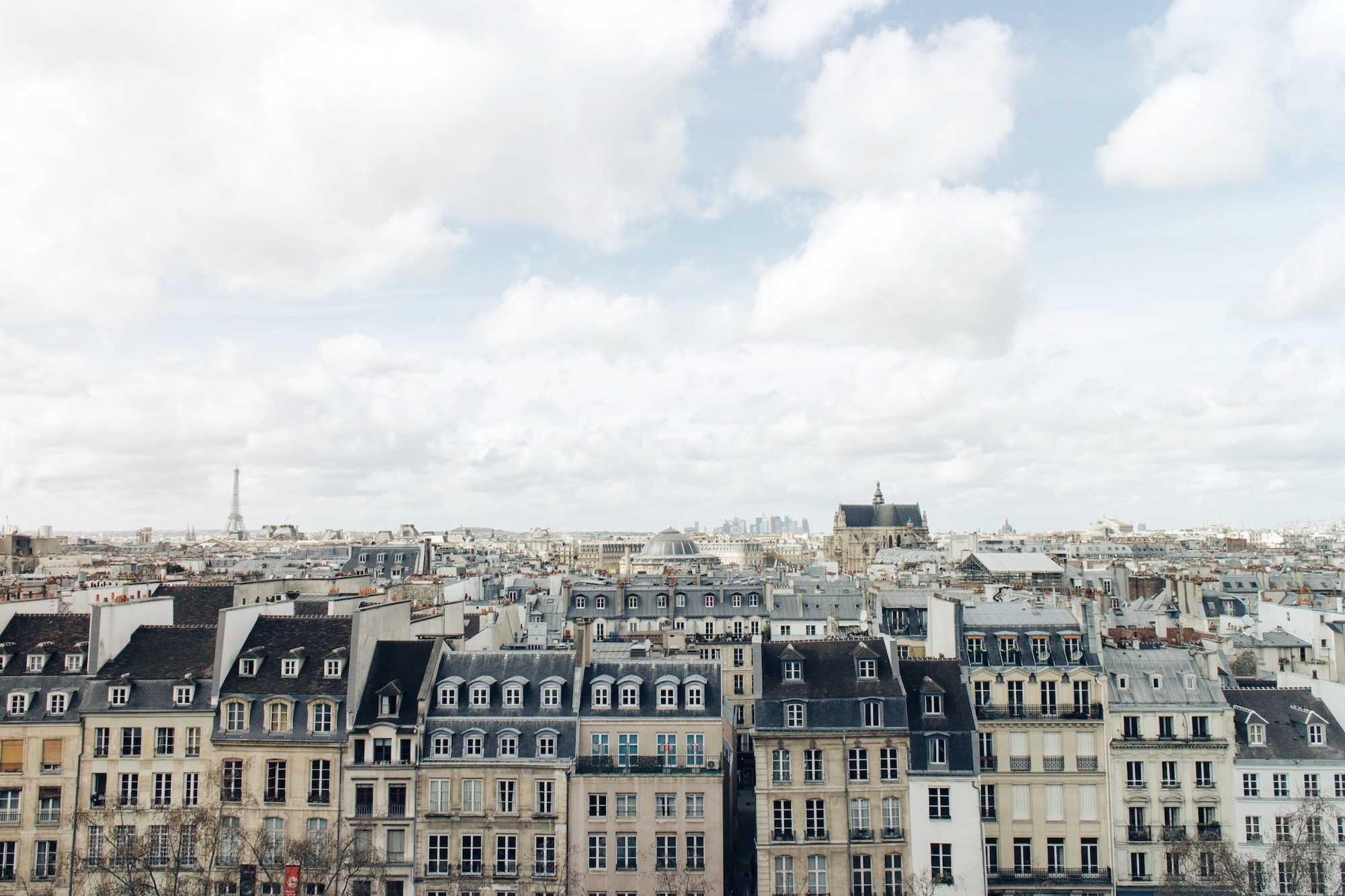 The view of Paris' beautiful architecture from the Centre Pompidou.