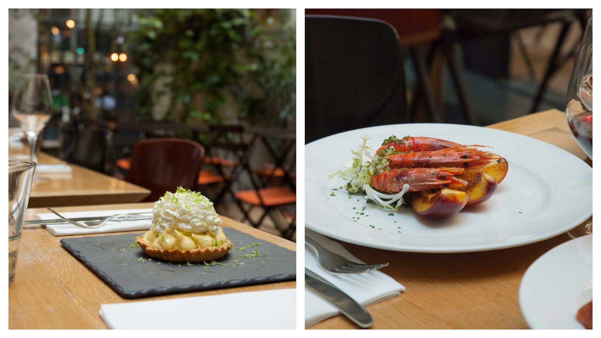 Tucked in the Marais in Paris, Jaja is one of the best places for modern French cuisine like Gambas with roast peaches (right) and lemon tart (left).