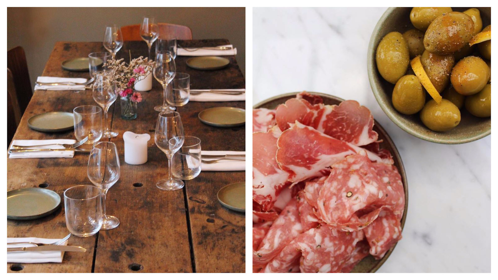 Our go-to restaurant in the Marais in Paris is Pacifico for its beautiful bohemian interiors (left) and delicious hams and olives, as well as the rest of the delights on the menu (right).